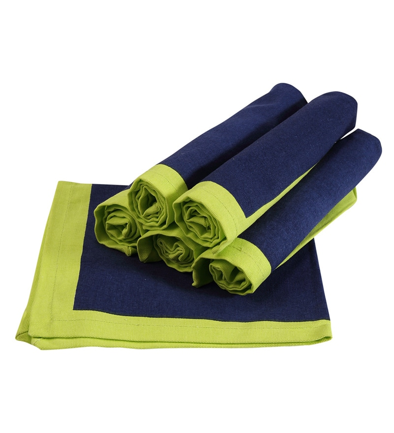 Sanjeev Kapoor Bon Appetite Aquacado Green Cotton Napkin - Set Of 6