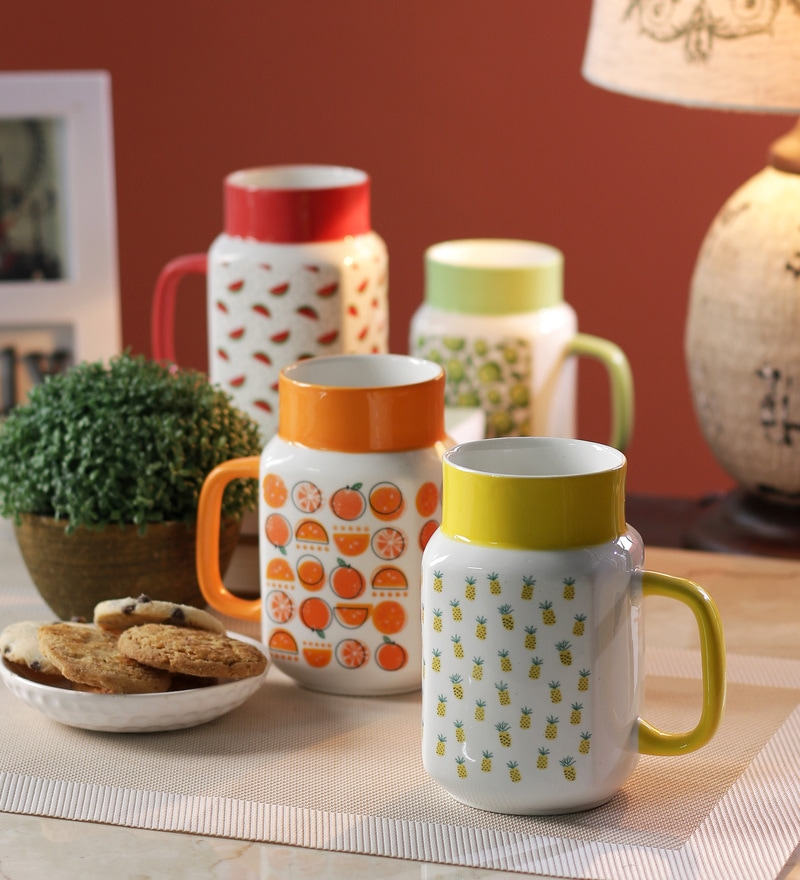 Sanjeev Kapoor Mixed Basket Bone China 550 ML Mason Mugs - Set of 4