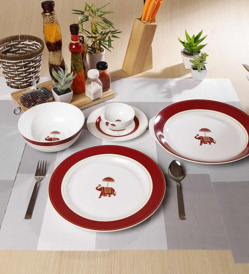 Utsav Collection Bone China Dinner Set - Set of 27 by Sanjeev Kapoor
