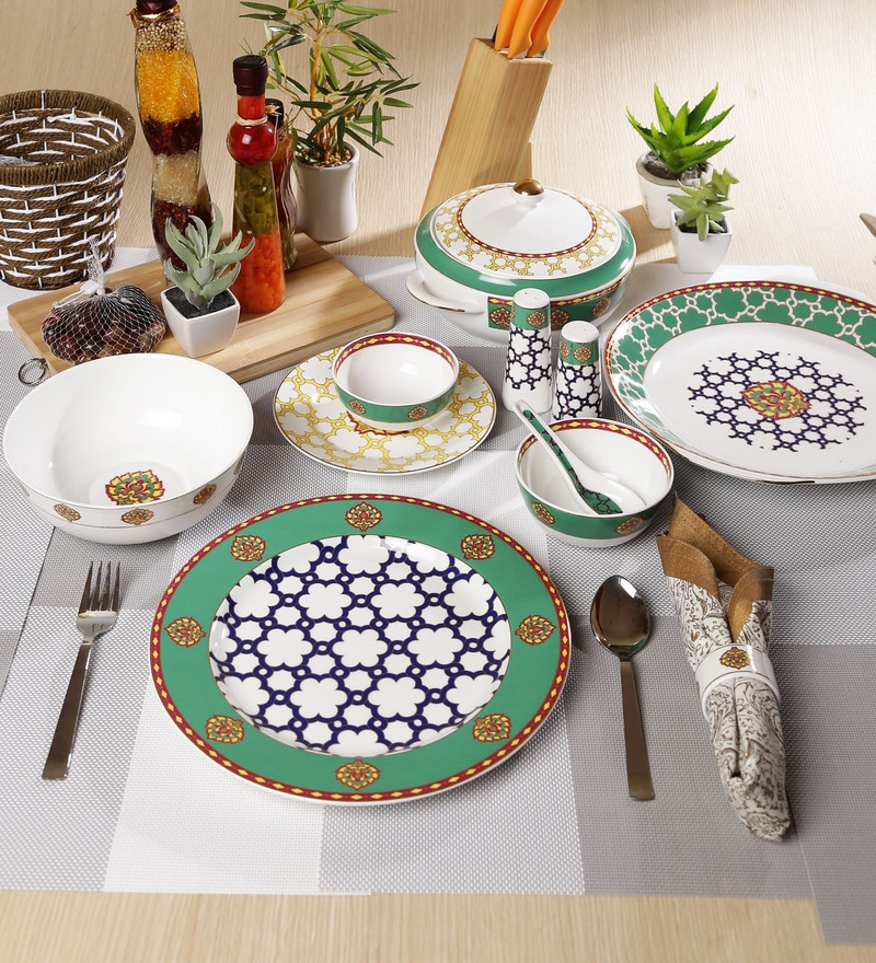 Virasat Collection Bone China Dinner Set - Set of 48 by Sanjeev Kapoor