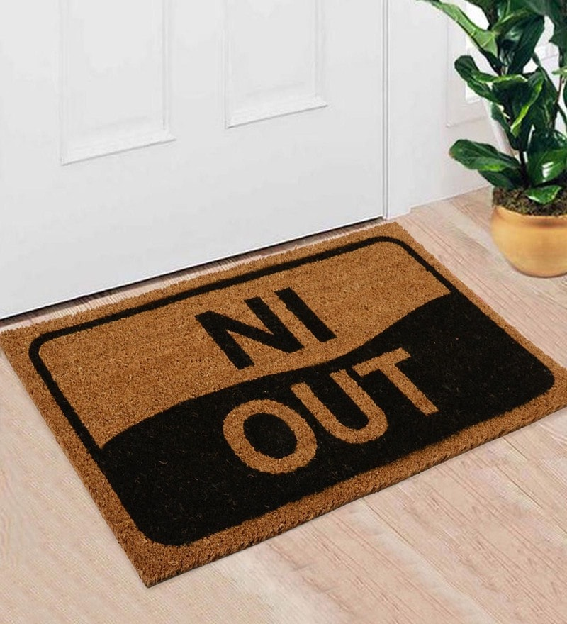 Black Coir 30 x 18 Inch Premium Quality In Door Mat by Saral Home