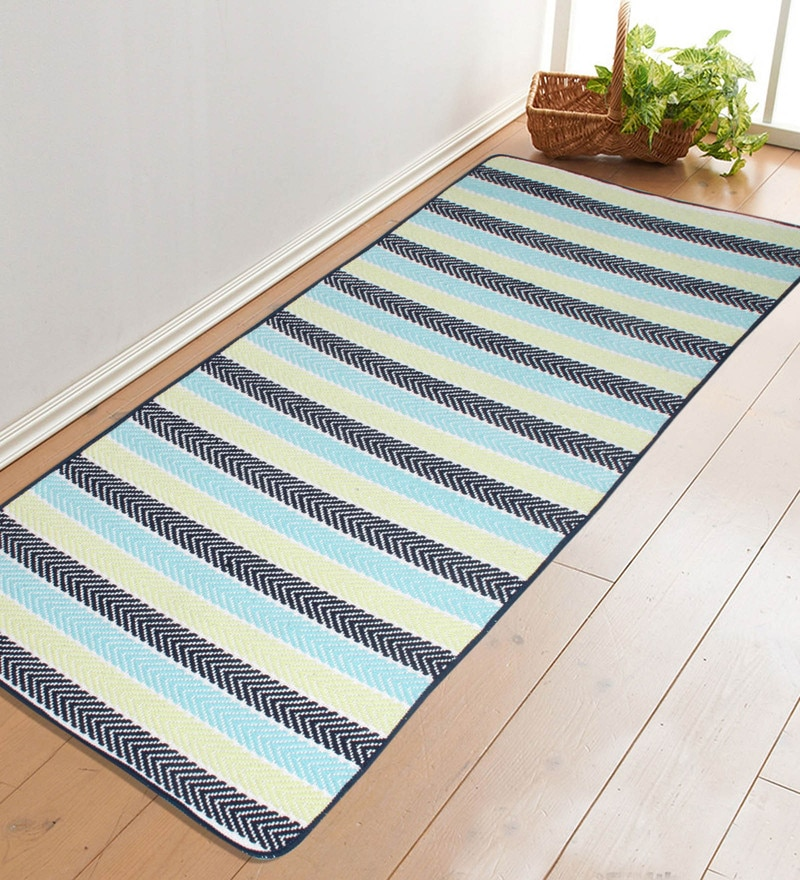Blue Cotton 68 x 28 Inch Premium Quality Yoga Mat by Saral Home