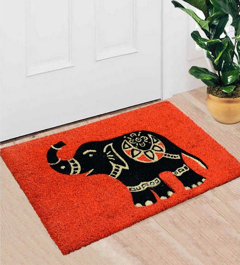 Orange Coir 24 x 16 Inch Premium Quality Heavy Duty Door Mat by Saral Home