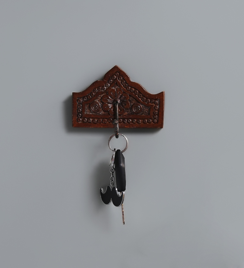 Multicolour Solid Wood Carved 1-Hook Key Holder by Satyam International