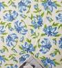 Salona Bichona Blue Cotton Floral 98 x 86 Inch Bed Sheet Set - Set of 3