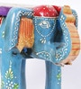 Multicolour Solid Wood Painted Elephant Stool Showpiece by Satyam International