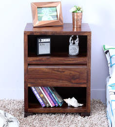 Segur Bed Side Table With Center Drawer In Provincial Teak Finish