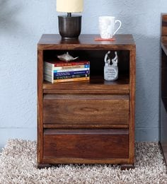 Segur Bed Side Table With Two Drawers In Provincial Teak Finish