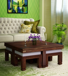 Segur Solid Wood Coffee Table Set With Four Stools In Provincial Teak Finish