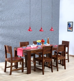 Segur Solid Wood Six Seater Dining Set In Provincial Teak Finish ...
