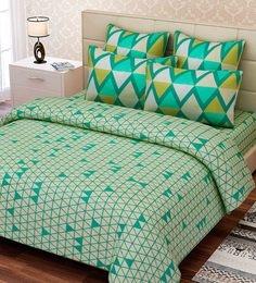 SEJ By Nisha Gupta  Green Cotton 88 X 108 Inch Geometric Queen Bed Sheet Set