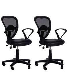 Low Back Ergonomic Chair (Set Of 2) In Black Colour ...