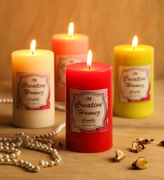 Set Of 4 Highly Scented Pillar Candles With Different Fragrances