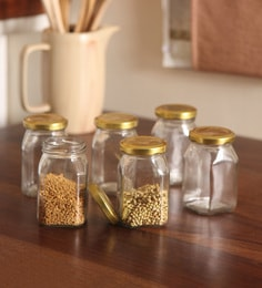 Set Of 6 Pc Golden Lid Glass Jar 200 ML Square