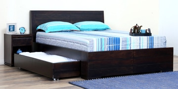 Segur Queen Bed With Drawer Storage In Warm Chestnut Finish
