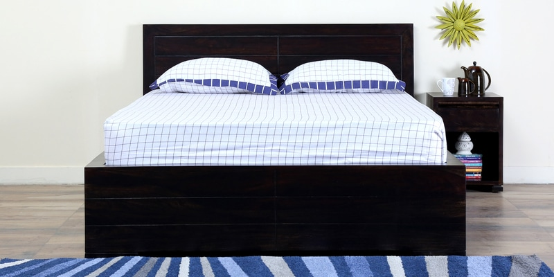 Segur Solidwood King Bed with Box Storage in Warm Chestnut Finish by Woodsworth