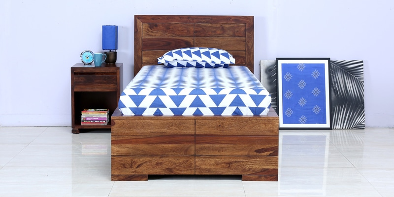 Segur Solidwood Single Bed with Drawer Storage in Provincial Teak Finish by Woodsworth