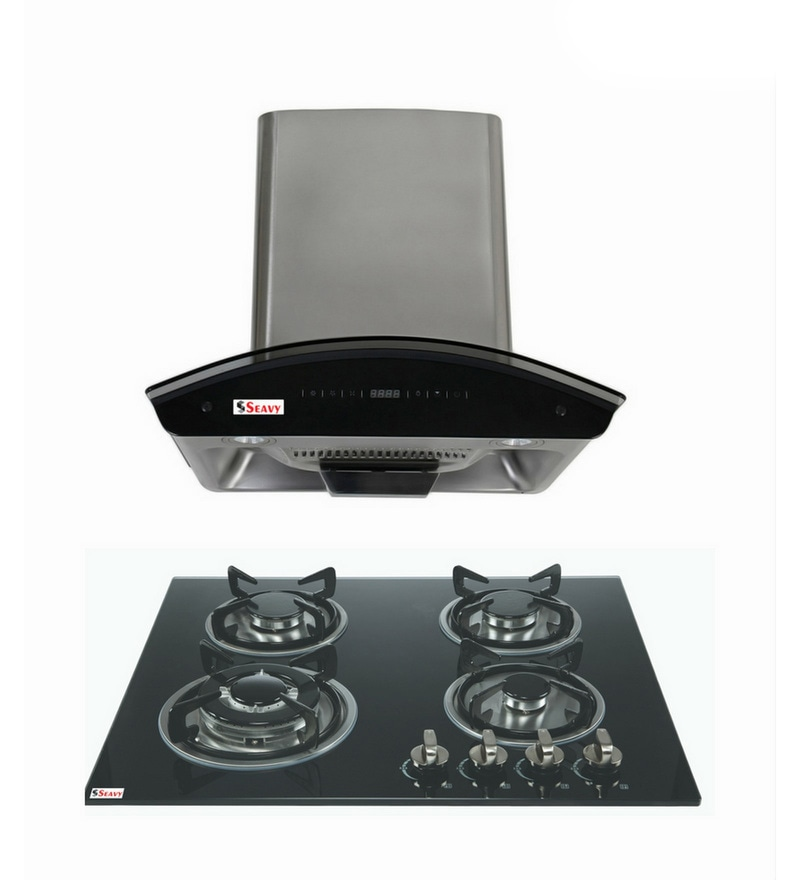 Seavy Prime 60 Cm Auto Clean Hood Chimney & 4 Burners Hob