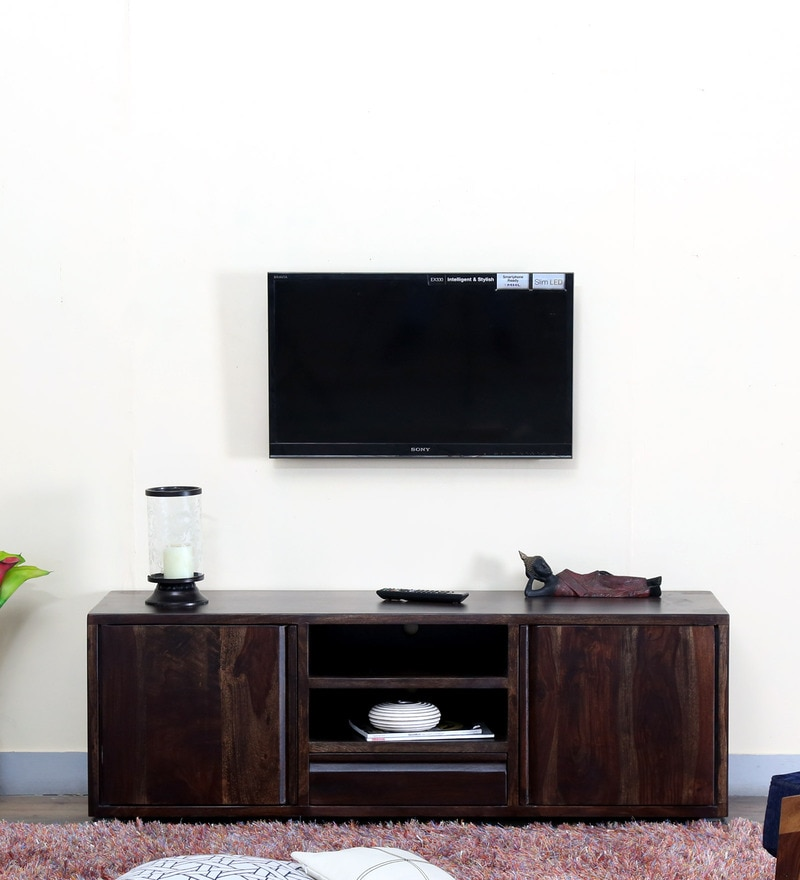 Segur Large Entertainment Unit in Warm Chestnut Finish by Woodsworth