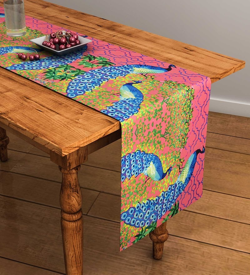SEJ by Nisha Gupta Abstract Pink Cotton Table Runner