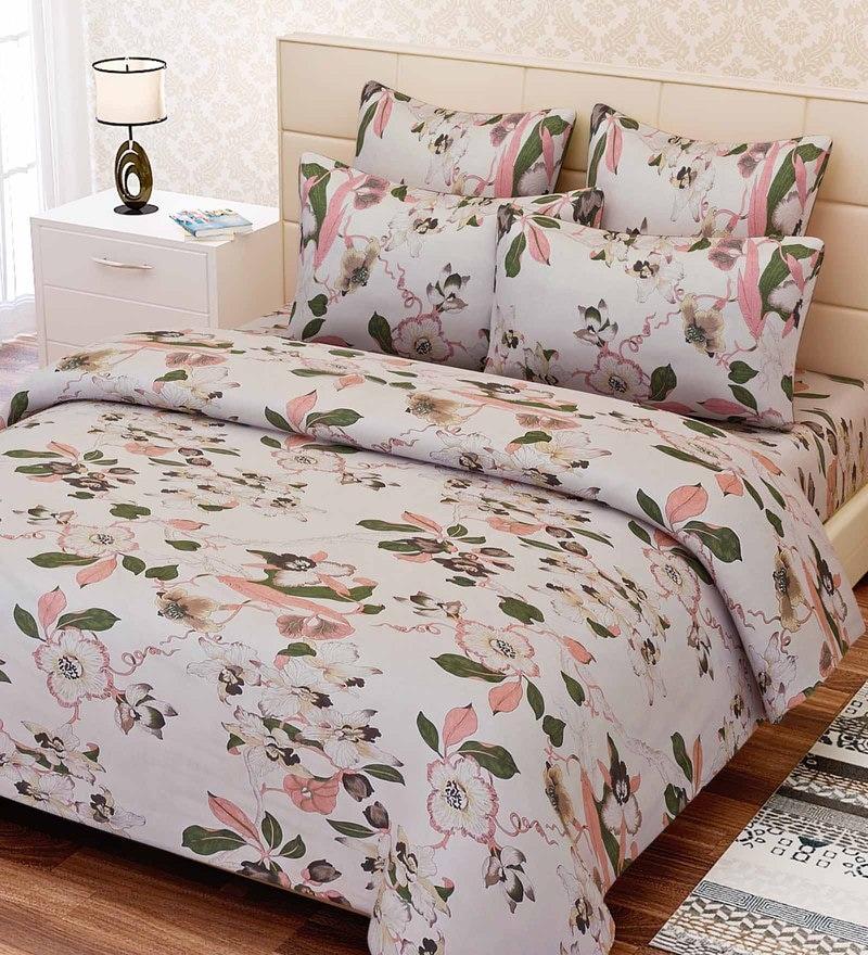 Beige Cotton 88 x 108 Inch Floral King Bed Sheet Set by SEJ By Nisha Gupta