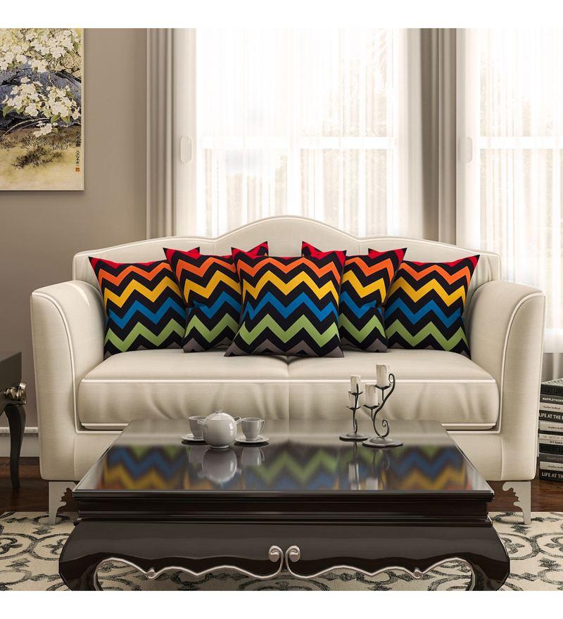 Sej By Nisha Gupta Multicolour Cotton 16 x 16 Inch Geometrical HD Digital Cushion Cover - Set Of 5