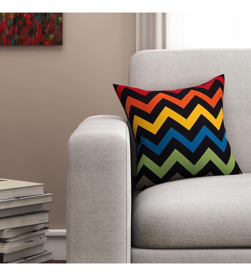 Sej By Nisha Gupta Multicolour Cotton 16 x 16 Inch Geometrical HD Digital Cushion Cover
