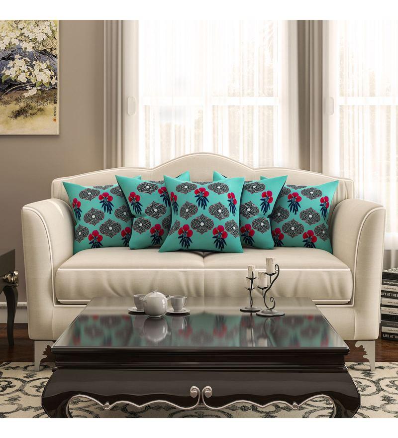 Sej By Nisha Gupta Multicolour Cotton 16 x 16 Inch Floral HD Digital Cushion Cover - Set Of 5