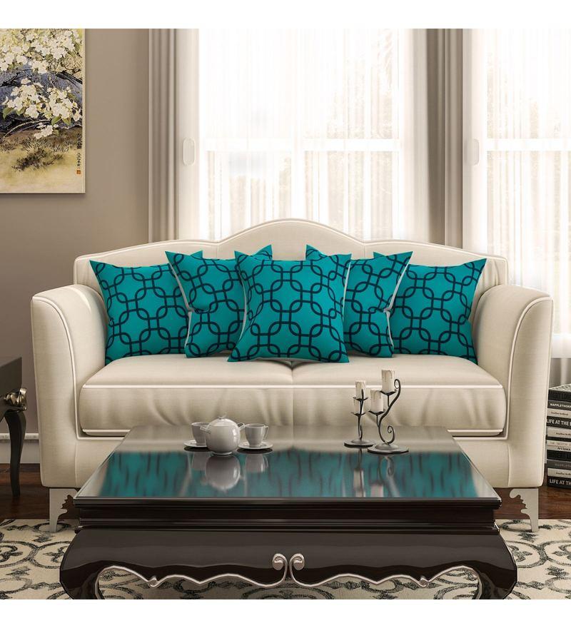 SEJ By Nisha Gupta Blue Cotton 16 x 16 Inch Geometrical Hd Digital Cushion Cover - Set of 5