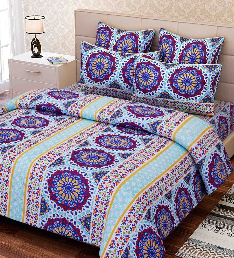 Blue Cotton 88 x 100 Inch Ethnic Queen Bed Sheet Set by SEJ By Nisha Gupta