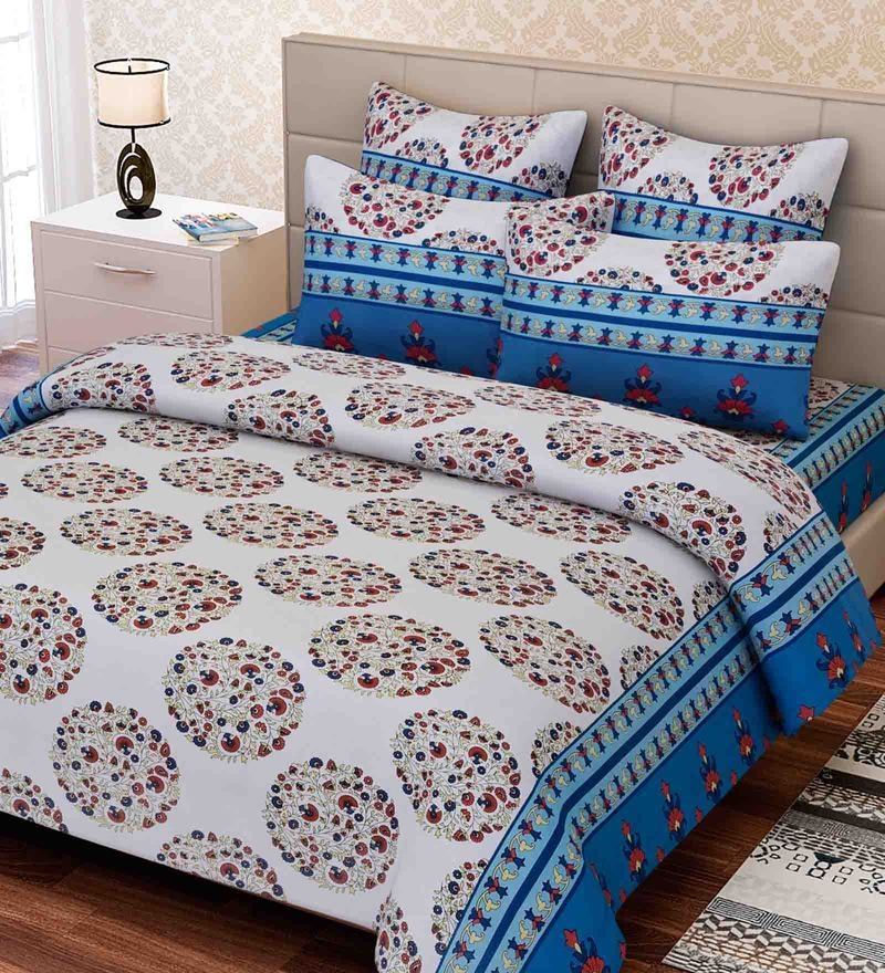 Blue Cotton 88 x 100 Inch Indian Ethnic Queen Bed Sheet Set by SEJ By Nisha Gupta