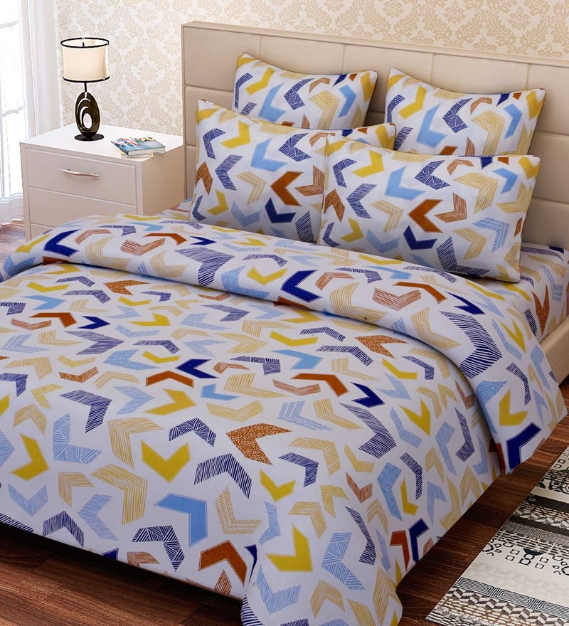 Multicolour Cotton 88 x 100 Inch Abstract Queen Bed Sheet Set by SEJ By Nisha Gupta