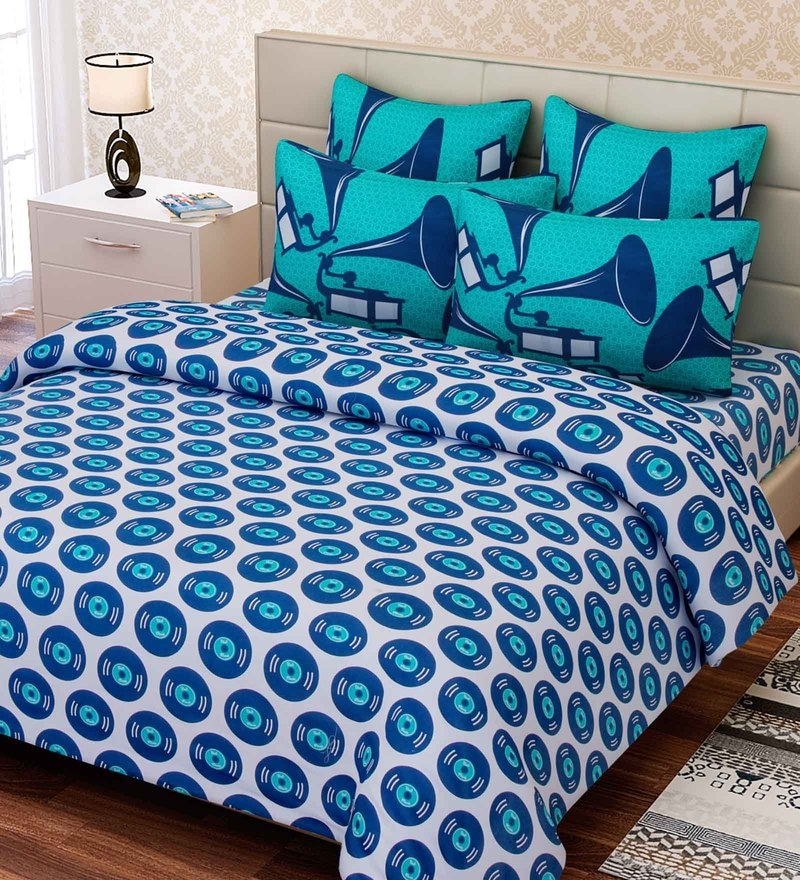 Blue Cotton 88 x 108 Inch Abstract King Bed Sheet Set by SEJ By Nisha Gupta