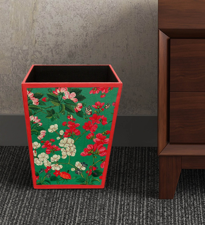 Sej by Nisha Gupta MDF Wood 11.5 L Floral Green Dustbin