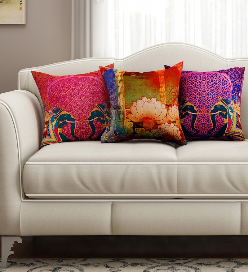 Multicolour Cotton 16 x 16 Inch Abstract Cushion Covers - Set of 3 by SEJ By Nisha Gupta