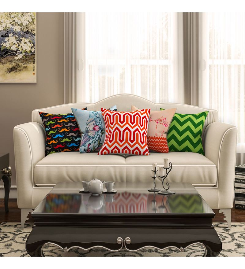 SEJ By Nisha Gupta Multicolour Cotton 16 x 16 Inch Abstract Hd Digital Cushion Cover - Set of 5