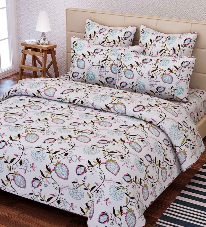 Multicolour Cotton 88 x 100 Inch Floral Queen Bed Sheet Set by SEJ By Nisha Gupta