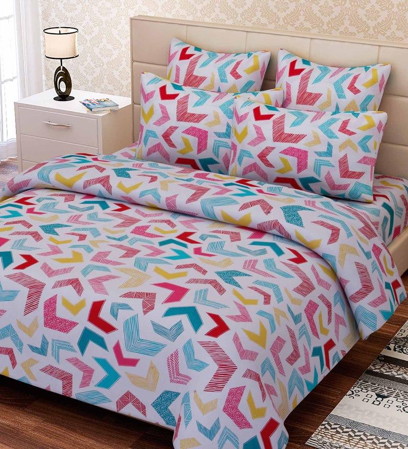 Multicolour Cotton 88 x 100 Inch Geometric Queen Bed Sheet Set by SEJ By Nisha Gupta