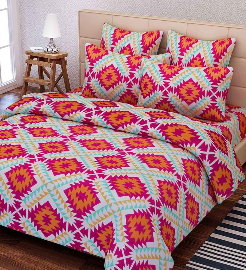 Multicolour Cotton 88 x 100 Inch Indian Ethnic Queen Bed Sheet Set by SEJ By Nisha Gupta