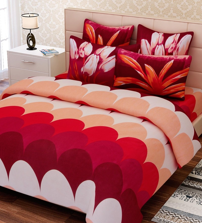 Red Cotton 108 x 108 Inch Floral King Bed Sheet Set by SEJ By Nisha Gupta