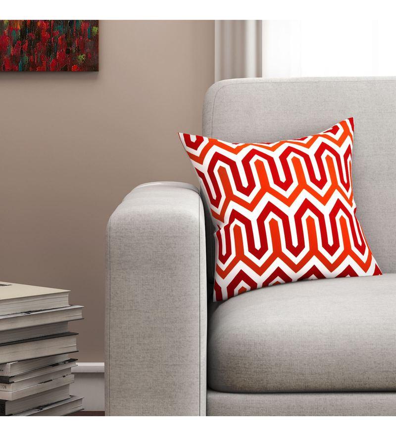 Sej By Nisha Gupta White And Red Cotton 16 x 16 Inch Geometrical HD Digital Cushion Cover