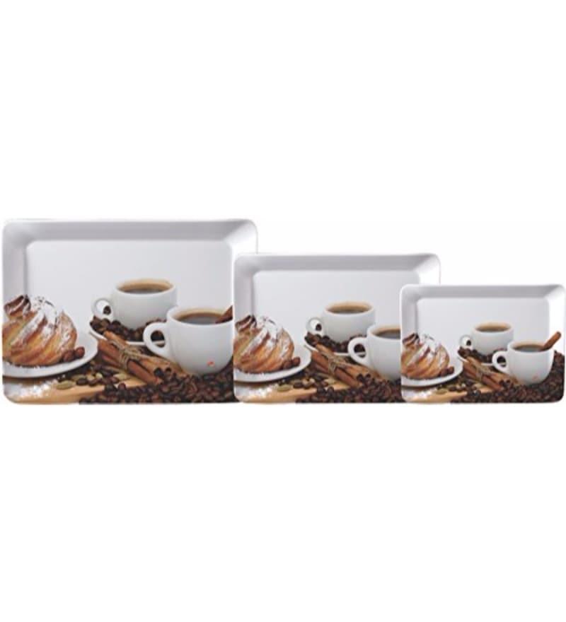 Servewell Stylo Coffee & Spice Melamine Serving Trays - Set of 3