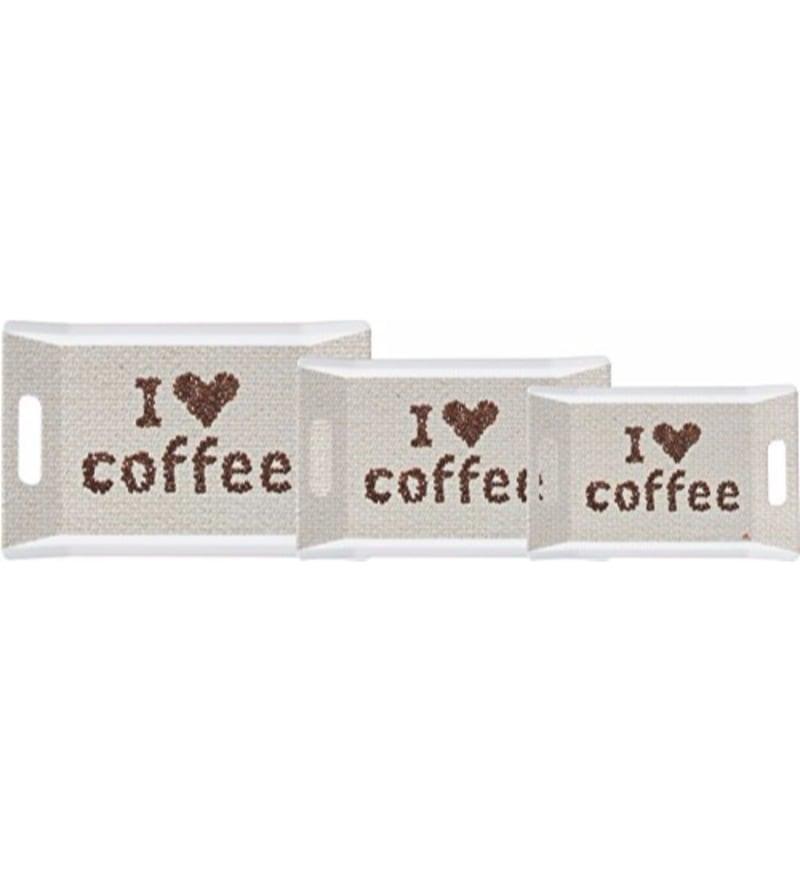 Servewell Trendy I Love Coffee Melamine Serving Trays - Set of 3