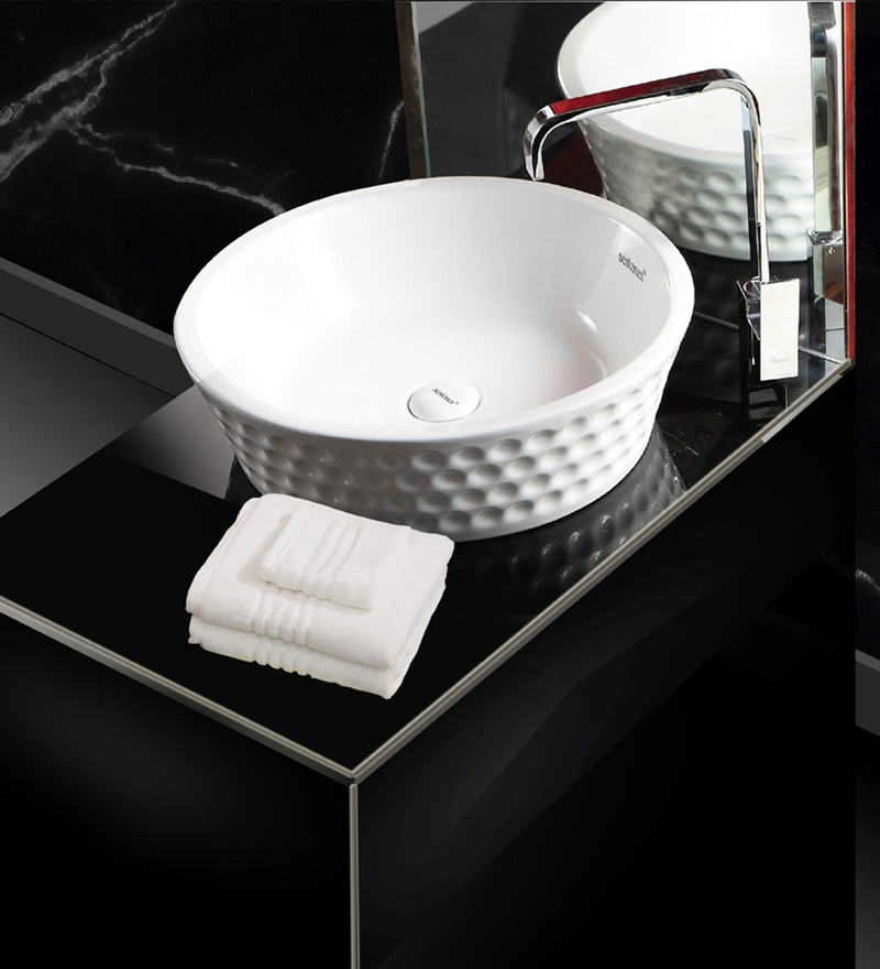 Sestones Drina White Ceramic 18.3 x 18.3 x 5.3 Inch Art Basin (Model: AB50050)