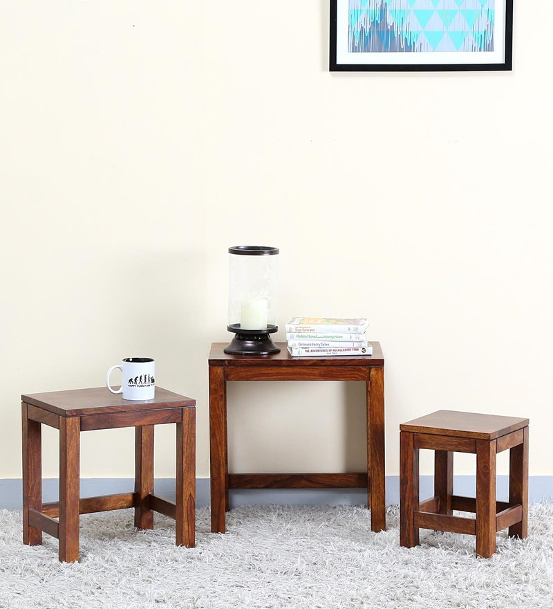 Oriel Set of Tables in Honey oak Finish by Woodsworth