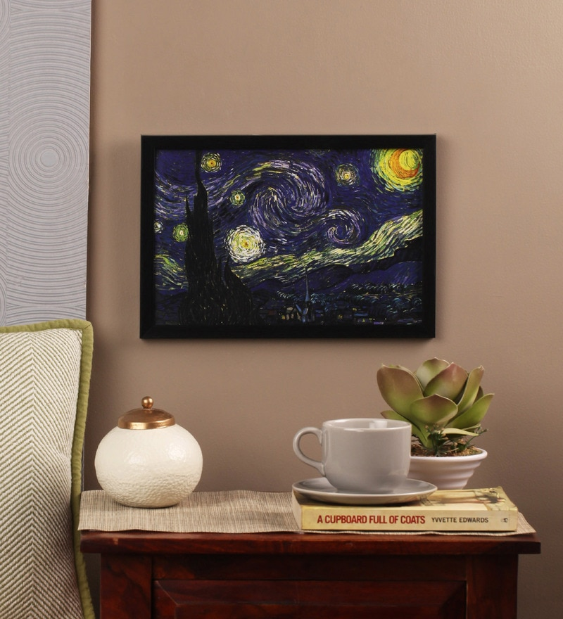 Glass, Fibre & Paper 8 x 1 x 12 Inch Starry Night by Vincent Van Gogh Framed Poster by Seven Rays