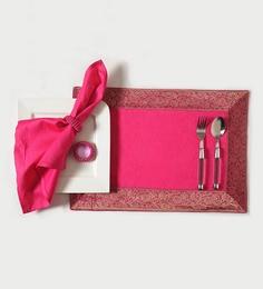 Shahenaz Home Shop Gia Pink Cotton Motif 18-piece Placemat, Napkin, And Ring Set