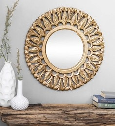 Shaz Living Gold Glass & MDF Fez Mirror