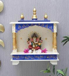 901aabb4d03 Sheesham Wood Pooja Mandir with Light for Home   Office in White Finish ...