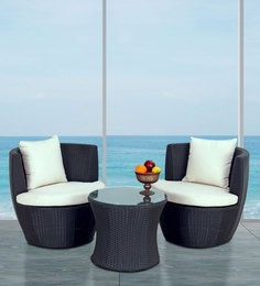 Shell Vase Outdoor Balcony Set In Black Color